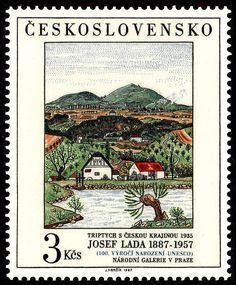 Sello: Triptych with Bohemian Landscape, by Josef Lada (Checoslovaquia) (Art) Mi:CS 2820 Stamp World, Triptych, Stamp Collecting, Mail Art, Postage Stamps, Flower Prints, Vintage World Maps, Tapestry, Landscape