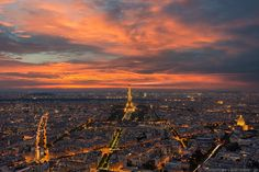 From the top of Montparnasse Tower, the sky above Paris France explodes with vivid color and light.  If you're interested in my work, feel free to drop me a line on Instagram or my website EliaLocardi.com.