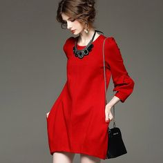 YuooMuoo Brand Design Autumn Dress Women Plus Size High Quality Red Black Dress Elegant European Fashion Party Dresses Outwear Like and Share if you agree! Fall Dresses, Elegant Dresses, Cheap Dresses, Party Dresses, Girls Dresses, Red Black Dress, Moda Do Momento, Spring Outfits Women, Dress Clothes For Women
