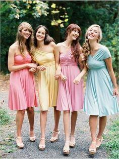 "Short bridesmaid dress,one shoulder Convertible bridesmaid dresses, Colorful bridesmaid dresses, PD210113"""