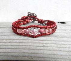 Cherry Blossom Sakura LeatherWrap Japanese by OffOnAWhimJewelry