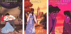 Denmark (The Little Mermaid), France (Beauty & The Beast), Middle East/Baghdad (Aladdin)
