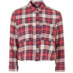 Topshop 'Chloe' Crop Plaid Shirt ($52) ❤ liked on Polyvore featuring tops, shirts, flannel, long sleeves, red, flannel shirts, red top, checkered crop top, topshop and red shirt