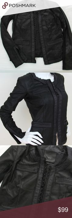 """Veda Black Leather Suede Silk Trimmed Jacket S I Z E:  medium  F A B R I C  C O N T E N T: Shell 100% leather, Trim and body lining 100% silk Knit 100% polyester  D E S C R I P T I O N: -Silk raw edge trim -Hook closures down front -Ribbed knit panel sleeves w/ split cuffs -Front pockets  M E A S U R E M E N T S: (TAKEN LAYING FLAT, UNSTRETCHED) BUST: 35"""" WAIST: 34"""" HIPS: 36"""" SLEEVES: 25.5"""" SHOULDERS: 15.5"""" ACROSS LENGTH: 21 Veda Jackets & Coats"""