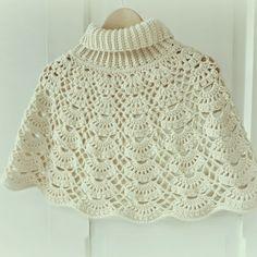 I really like the collar she made for this! ByHaafner, Japanese crochet pattern, crochet cape