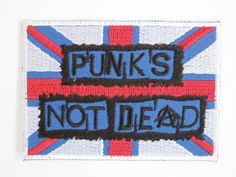 Punks Not Dead UK Flag Embroidered Iron On Badge by patchNbadge