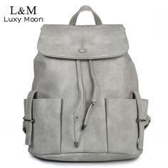 a5fe0ebae23c Korean Women Backpack High Quality PU Leather Rucksack For Teenage Girls  Casual Drawstring Solid School Backpacks mochila