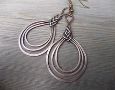 wire wrapped earring / copper wire jewelry / wire wrapped jewelry handmade / wire wrap one of a kind / celtic knot earrings