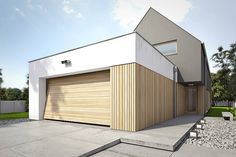 Modern Home in Poland Bungalow House Design, Modern House Design, Modern Barn, Modern Farmhouse, Modern Family House, House Cladding, Courtyard House Plans, Porches, Steel House