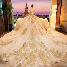 Luxury / Gorgeous Gold 2019 Wedding Dresses A-Line / Princess Scoop Neck Beading Crystal Lace Flower Sequins Long Sleeve Backless Royal Train Source by angbna Dresses Gold Wedding Gowns, Sheath Wedding Gown, Sexy Wedding Dresses, Princess Wedding Dresses, Bridal Gowns, Ball Dresses, Ball Gowns, Charro Wedding, Vestido Charro