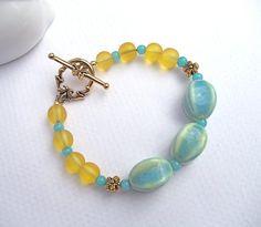 Aqua and Yellow Bracelet by KatieBugCreations4U on Etsy, $14.00