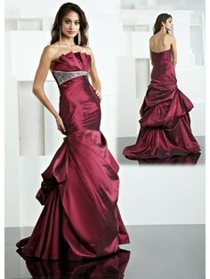 Taffeta Sheer Scalloped Neckline Delicately Gathered Bodice Long Special Occasion Dress