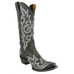 """Old Gringo Ladies """"Diego"""" Crystal Scroll Boots - Dark Brown"""