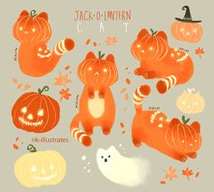 nk-illustrates: Night Star Cat, Cat-O-Lanterns, and Ghost...