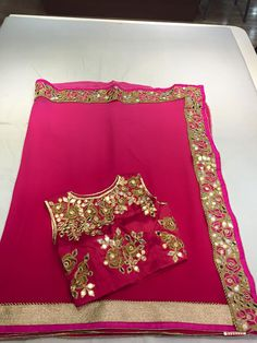 Chiffon fancy sari paired with semistiched Blouse | Buy Online Sarees | Elegant Fashion Wear