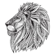 Ethnic patterned ornate  head of Lion. Black and white doodle illustration. Sketch for tattoo, poster, print or t-shirt.