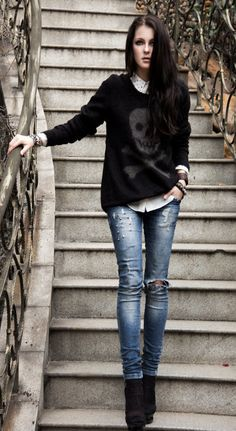 Women's Fashion: Fall + Winter Style (Distressed Denim Jeans, Button Down Shirt, Skull Sweater, Ankle Boots) Gothic Fashion, Look Fashion, Winter Fashion, Womens Fashion, Fashion Trends, Rock Style Fashion, Pop Punk Fashion, Steampunk Fashion, Fashion 2018