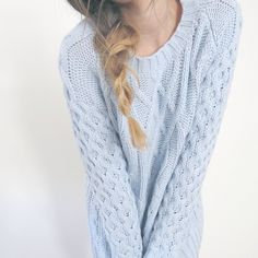 A knitted baby blue sweater is pretty much a necessity at the moment.