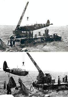 IX serial no. KH-T from No. 403 Squadron RCAF being salvaged after a forced landing in Normandy. Aircraft Maintenance, Supermarine Spitfire, Battle Of Britain, Royal Air Force, D Day, Normandy, Amazing Cars, World War, Wwii