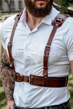 Brown Groomsmen, Groomsmen Suspenders, Leather Suspenders, Leather Lingerie, Leather Corset, Leather Harness, Suspenders Fashion, Red Costume, Clothing Hacks