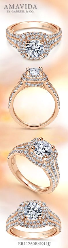 Amavida by Gabriel & Co. - Voted #1 Most Preferred Bridal Brand.   The rose gold double halo engagement ring glimmers all around with its vast diamond setting.