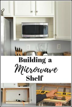 Building a microwave shelf to look like your built in cabinets Corner Microwave, Built In Microwave Cabinet, Microwave In Kitchen, Microwave Storage, Microwave Wall Shelf, Mounted Microwave, Kitchen Shelves, Kitchen Redo, Kitchen Design