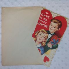 Vintage Valentine's Day Card My Heart All Yours Candy Girl Boy Gold Unused Fold