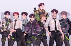 Kpop Anime, Bts Art, Def Not, Girl And Dog, Kpop Fanart, Art Sketchbook, Jaehyun, Nct Dream, Nct 127