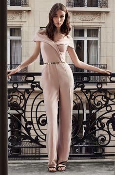 REISS Adina Off-the-Shoulder Jumpsuit $475, Broadway Patent Metal-Detail Belt $95 and Rena Suede Peep-Toe Shoes $320