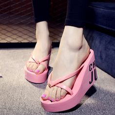 2017 New Ultra High Heels Beach Slippers Summer Style Wedge Platform Sandals for Women Huarache Flip Flops Woman Shoes