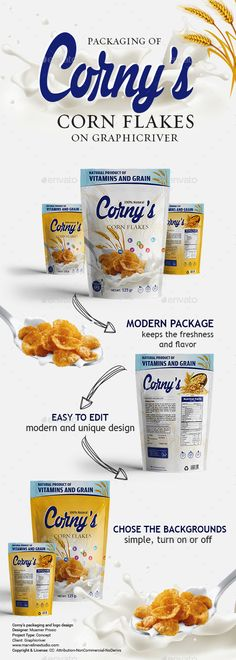 Corn Flakes #Packaging #Template - Packaging Print Templates Download here:  https://graphicriver.net/item/corn-flakes-packaging-template/19413969?ref=alena994
