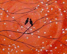 Wedding Gift Original Painting Love Birds от TexturePainting