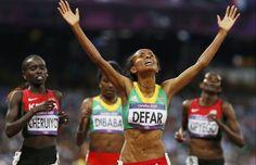 l'Ethiopienne Meseret Defar est de nouveau sacrée championne olympique sur 5000 m.