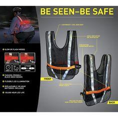 Light Up LED Reflective Safety Vest Biking Running Jogging Red LED Nite Ize New | eBay