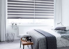 Unique Bedroom Window Blinds And Shades Bedroom Curtains Bedroom Window Treatments Budget Blinds Persiana Double Vision, Persiana Sheer Elegance, Gray Interior, Interior Design, Zebra Blinds, Window Wall Decor, Budget Blinds, House Blinds, Curtain Designs