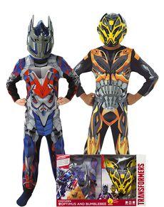 Bumble Bee og Optimus Prime kostumer til drenge i kasse