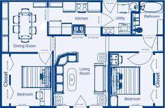 Home Floor Plan 864 sq.ft. 2 Bedroom, 1 Bathroom