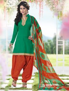 Green Cotton Printed Suit