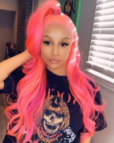 Lace Frontal Wigs Pink Hair Bleach Blonde Hair Turned Pink For Women – wigbaba Weave Hairstyles, Pretty Hairstyles, Pelo Multicolor, Curly Hair Styles, Natural Hair Styles, Cute Hair Colors, Bleach Blonde Hair, Red Wigs, Hair Laid