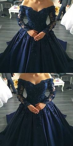 midnight blue prom dresses ball gowns lace long sleeves,off the shoulder prom dress,ball gowns wedding dress,navy blue wedding dresses