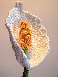 Pattern #74 - Peace Lily or Spathiphyllum flower crochet pattern.