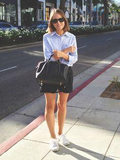 Club Monaco shirt, Wood Wood shorts, Superga sneakers and Louis Vuitton bag