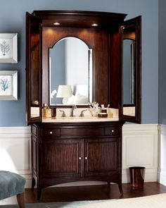 Very cute way to hide a sink in the master bedroom, or in a guest room that doesn't have an attached bath.  Ambella - Veronica Sink Armoire traditional bathroom vanities and sink consoles