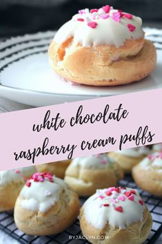 Light and airy cream puffs dipped in white chocolate and filled with a delicious raspberry whipped cream. These beautiful cream puffs make for the perfect Valentine's Day treat! Raspberry Cookies, Raspberry Cheesecake, Nutella Cheesecake, Best Dessert Recipes, Easy Desserts, Sweet Recipes, Delicious Desserts, Desserts, Kitchens