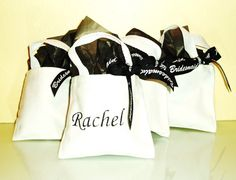 Personalized Bridesmaids bags stuffed with stuff for the day and gifts