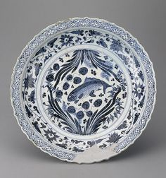 Dish  China, Jingdezhen. Yuan Dynasty. 14th century	 Porcelain; painting in cobalt blue. Diam. 45 cm The State Hermitage Museum