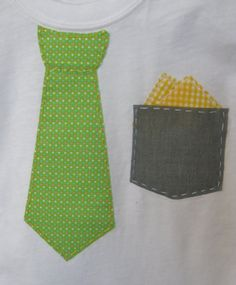 Boys Easter or Spring Tie Applique shirt with pocket and pocket-square
