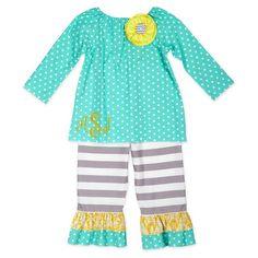 Girls Turquoise Dot & Stripe Pant Set