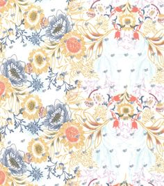 Fashion Cotton Fabric Swiss Dot Sketch Floral Ivory