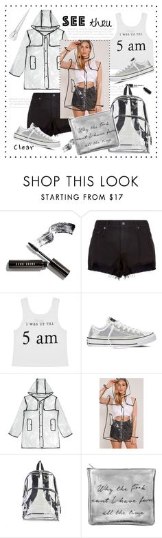 """""""Seeing clear.....#coat #shorts #crop #backpack #bag #sneakers #beauty #polyvore"""" by fashionlibra84 ❤ liked on Polyvore featuring Bobbi Brown Cosmetics, rag & bone, Converse, New Look, International and Christian Louboutin"""